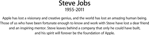 Apple message on steve jobs